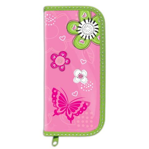 Пенал BRAUBERG, 1 отделение, для учениц начальной школы, ламинированный картон, «Розовые цветы», 19×9 см