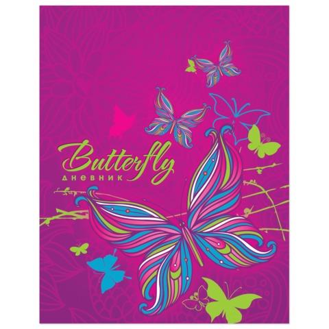 Дневник для 1-4 классов, твердый, ламинированная обложка, BRAUBERG (БРАУБЕРГ), «Бабочки»