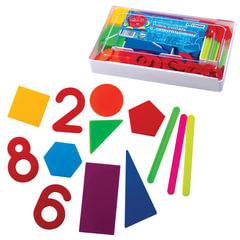 Касса цифр и счетных материалов СТАММ «Учись считать», 122 элемента и счетные палочки 20 шт.