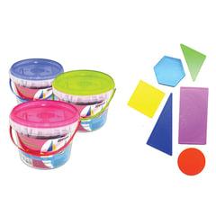 Счетные материалы СТАММ «Геометрическая мозаика», прямоугольники, квадраты, круги, шестиугольники, треугольники, пластиковое ведро