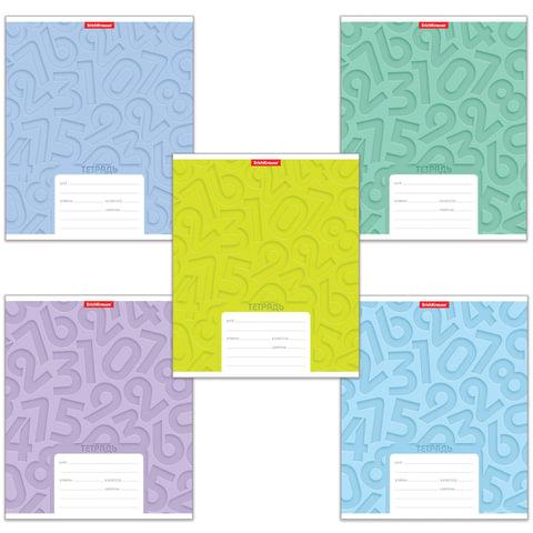"""Тетрадь 12 л., ERICH KRAUSE, клетка, обложка мелованный картон, """"Типографика цифры"""""""