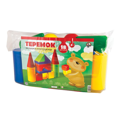 Конструктор пластиковый «Теремок», 18 элементов, в ПВХ сумке, цветной, «Десятое королевство»