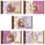 Альбом для рисования, 32 л., HATBER, спираль, обложка мелованный картон, 100 г/<wbr/>м<sup>2</sup>, «Лошадки-(NICI)», 32А4Всп
