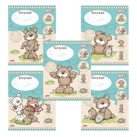 """Тетрадь 12 л., HATBER, линия, обложка мелованный картон, """"Любимые мишки-(NICI)"""", 12Т5В2"""