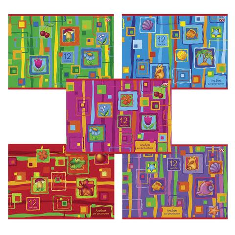 """Альбом для рисования, 12 л., HATBER VK, обложка офсет, 100 г/м2, """"Яркие краски"""" (5 видов), 12А4С"""
