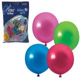 """Шары воздушные 10"""" (25 см), комплект 100 шт., 12 цветов металлик, в пакете"""