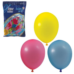 """Шары воздушные 10"""" (25 см), комплект 100 шт., 12 пастельных цветов, в пакете"""