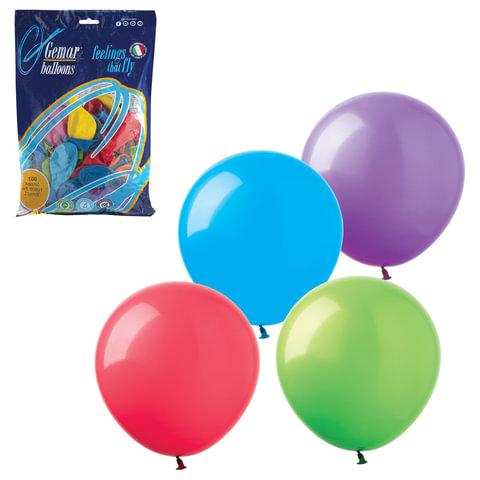"""Шары воздушные 9"""" (23 см), комплект 100 шт., 12 пастельных цветов, в пакете"""
