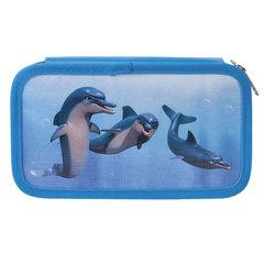 Пенал 2 отделения BRAUBERG, для учениц начальной школы, «Дельфин», 19×11 см