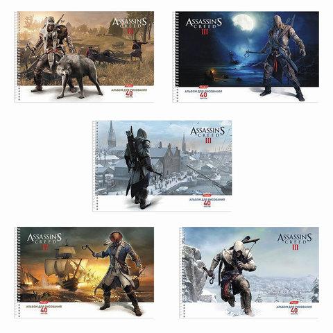 """Альбом для рисования, 40 л., HATBER, спираль, выборочный лак, 100 г/м2, """"Assassin's Creed"""", 40А4влВсп"""