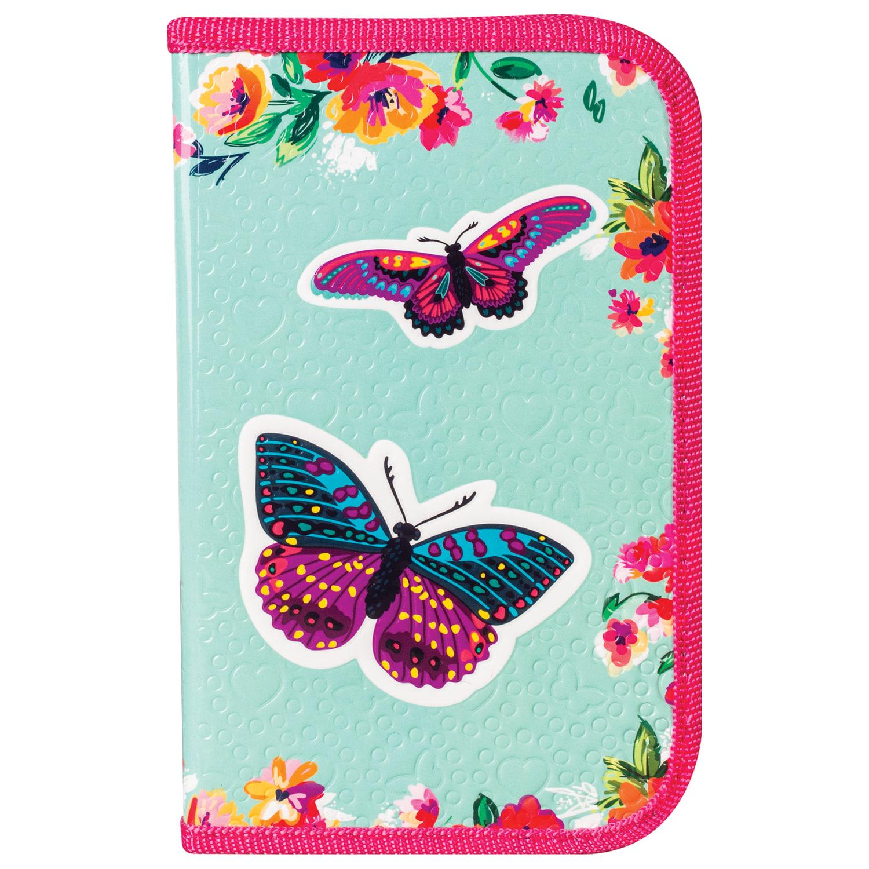 Пенал с бабочками и цветами