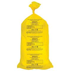 Мешки для мусора медицинские, комплект 20 шт., класс Б (желтые), 100 л, 60×100 см, 15 мкм, АКВИКОМП