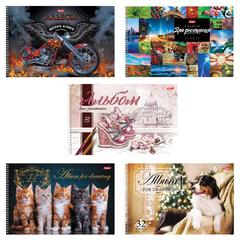 Альбом для рисования, 32 л., HATBER, спираль, обложка мелованный картон, 100 г/<wbr/>м, «Ассорти», 32А4Всп