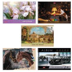 Альбом для рисования, 48 л., HATBER, спираль, обложка мелованный картон, 100 г/<wbr/>м, «Ассорти», 48А4Всп
