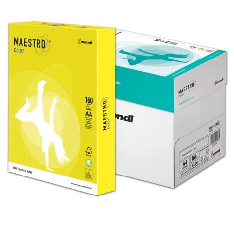 Бумага MAESTRO color А4, 160 г/<wbr/>м<sup>2</sup>, 250 л., интенсивная канареечно-желтая CY39