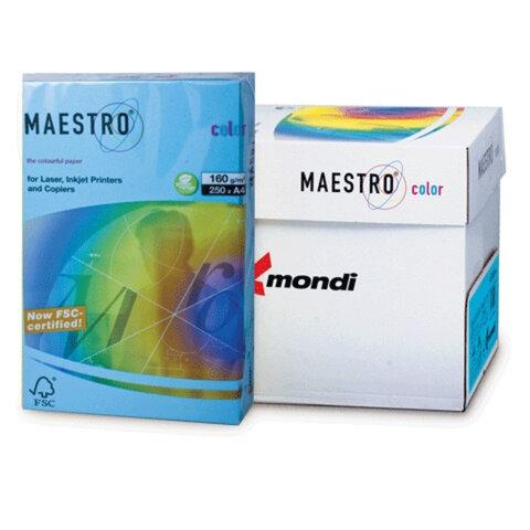 Бумага MAESTRO color А4, 160 г/<wbr/>м<sup>2</sup>, 250 л., интенсивная светло-синяя AB48