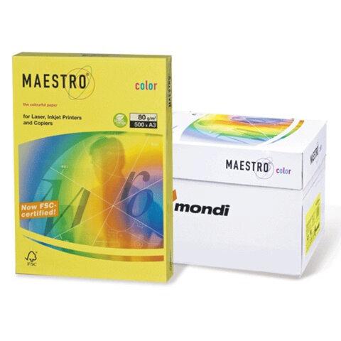 Бумага MAESTRO color А3, 80 г/<wbr/>м<sup>2</sup>, 500 л., интенсивная солнечно-желтая SY40