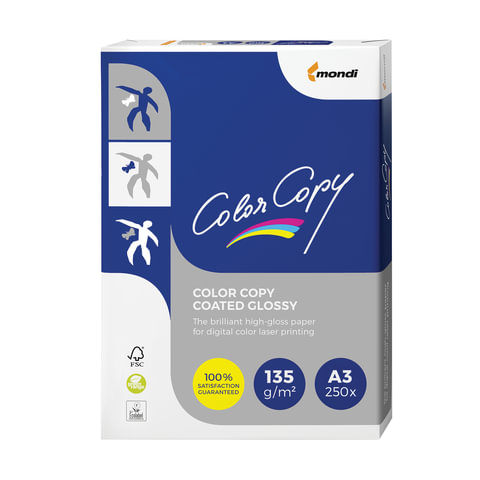 Бумага COLOR COPY GLOSSY, мелованная, глянцевая, А3, 135 г/м2, 250 л., для полноцветной лазерной печати, А++, Австрия, 138% (CIE)