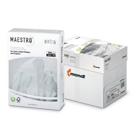 Бумага MAESTRO EXTRA, А4, 200 г/<wbr/>м<sup>2</sup>, 250 л., класс «А+», Австрия, белизна 169% (CIE)