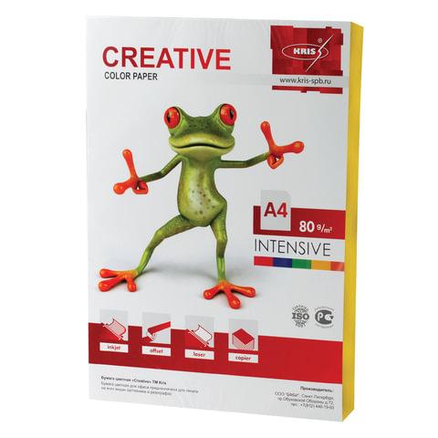 Бумага CREATIVE color (Креатив), А4, 80 г/м2, 100 л., интенсив желтая