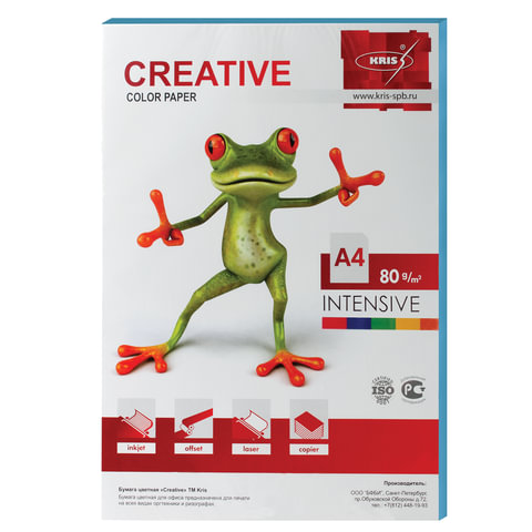 Бумага CREATIVE color (Креатив), А4, 80 г/м2, 100 л., интенсив голубая