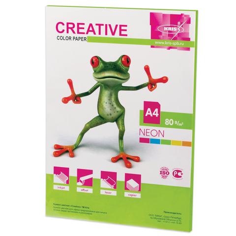 Бумага CREATIVE color (Креатив), А4, 80 г/м2, 50 л., неон салатовая