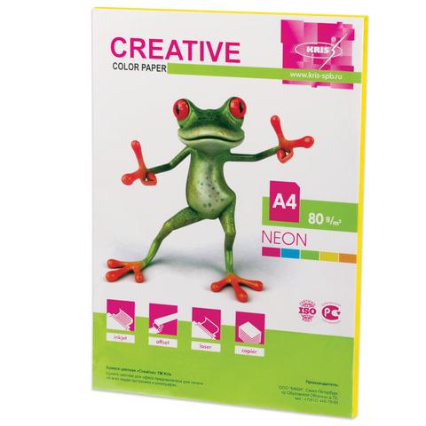 Бумага CREATIVE color (Креатив), А4, 80 г/м2, 50 л., неон желтая