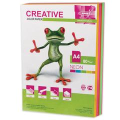 Бумага CREATIVE color (Креатив), А4, 80 г/<wbr/>м<sup>2</sup>, 250 л. (5 цв. х 50 л.), цветная неон