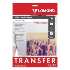 Бумага термотрансферная LOMOND для светлых тканей, А4, 10 шт., 140 г/<wbr/>м<sup>2</sup>, 0808411