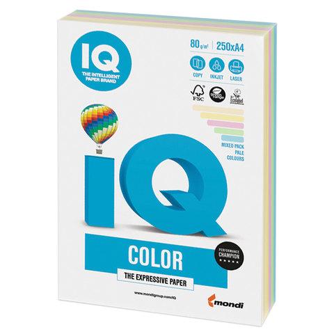 Бумага IQ color, А4, 80 г/м2, 250 л. (5 цв. x 50 л.), цветная пастель RB01