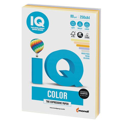 Бумага IQ color, А4, 80 г/м2, 250 л. (5 цв. х 50 л.), цветная, умеренно-интенсив (тренд) RB03