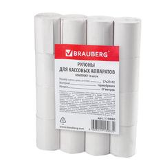 Рулоны для кассовых аппаратов, термобумага, 57×27×12 (27 м), комплект 16 шт., гарантия намотки, BRAUBERG