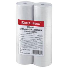 Рулоны для кассовых аппаратов/<wbr/>терминалов, термобумага 80×60×12 (60 м), комплект 6 шт., гарантия намотки, BRAUBERG