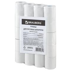 Рулоны для кассовых аппаратов, термобумага 44×20×12 (20 м), комплект 20 шт., гарантия намотки, BRAUBERG