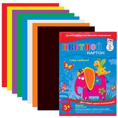 Цветной картон, А4, 8 цветов, 215 г/<wbr/>м<sup>2</sup>, обложка лакированная, АППЛИКА, 205×290 мм