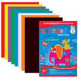 Цветной картон, А4, 8 листов, 8 цветов, лакированная обложка, АППЛИКА, 205×290 мм