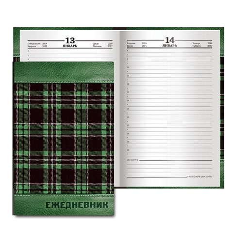 Ежедневник BRAUBERG (БРАУБЕРГ) полудатированный на 4 года, А5, 133×205 мм, «Кожа зеленая, шотландка», 192 л., обложка шелк
