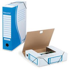 Папка архивная с резинкой, микрогофрокартон, 75 мм, до 700 листов, синяя, BRAUBERG