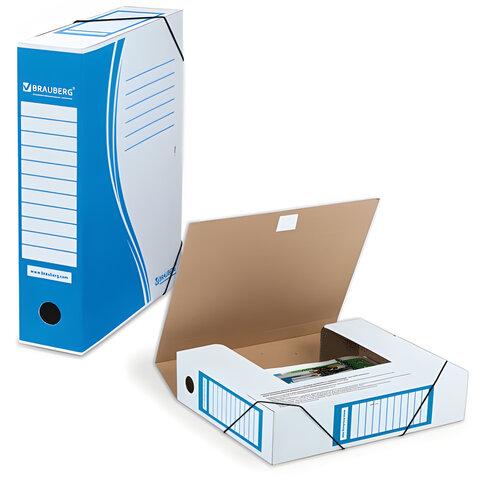 Накопитель документов, папка с резинкой BRAUBERG, 75 мм, синий, до 700 л.
