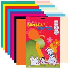 Цветная бумага и цветной картон, А4, мелованные, 8+8 цветов, АППЛИКА, 205×285 мм
