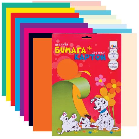 Цветная бумага и цветной картон, А4, мелованные, 8+8 листов, 8+8 цветов, АППЛИКА, 205×285 мм