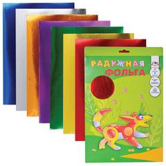 Цветная фольга, А4, радужная, 7 цветов, АППЛИКА, 205×255 мм