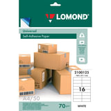 Этикетка самоклеящаяся LOMOND на листе формата А4, 16 этикеток, размер 105×37 мм, белая, 50 л.