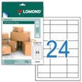 Этикетка самоклеящаяся LOMOND на листе формата А4, 24 этикетки, размер 64,6×33,4 мм, белая, 50 л.