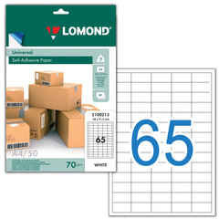 Этикетка самоклеящаяся LOMOND на листе формата А4, 65 этикеток, размер 38×21,2 мм, белая, 50 л., 2100215