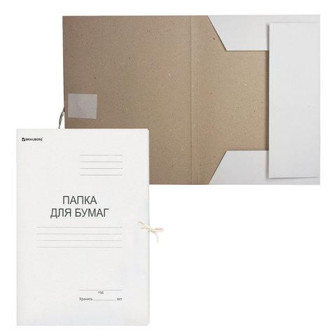 Папка для бумаг с завязками картонная BRAUBERG, гарантированная плотность 280 г/м2, до 200 л.