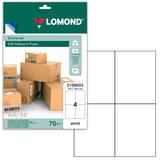 Этикетка самоклеящаяся LOMOND на листе формата А4, 4 этикетки, размер 105×148,5 мм, белая, 50 л., 2100025