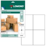 Этикетка самоклеящаяся LOMOND на листе формата А4, 4 этикетки, размер 105×148,5 мм, белая, 50 л.