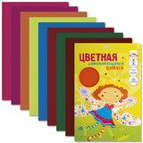 Цветная бумага, А4, самоклеящаяся, 8 листов, 8 цветов, АППЛИКА, 220×320 мм