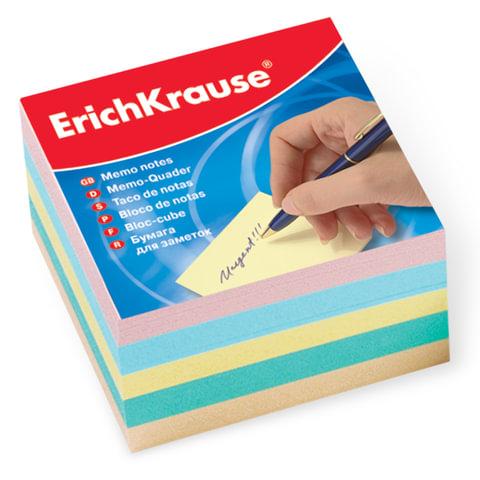 Блок для записей ERICH KRAUSE непроклеенный, 9×9×5 см, цветной